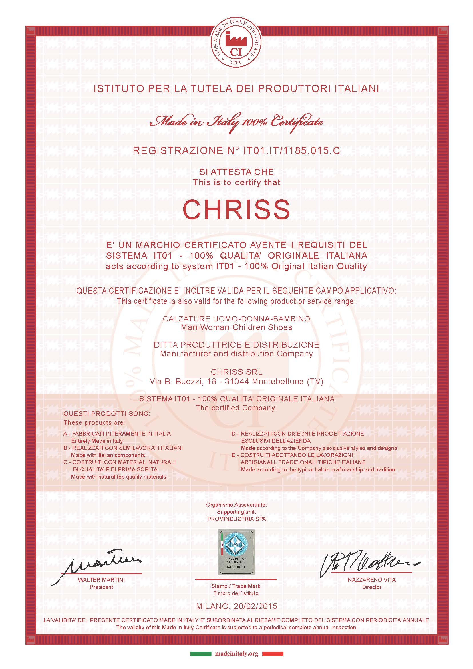 100% Italian Product Certification Chriss S.r.l.